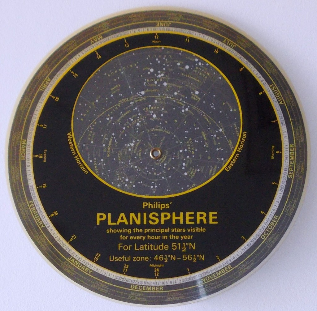This is that planisphere Peter uses, it looks very different to the Museum's one below! The big dipper can be seen to the right of the pole star.