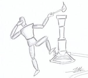 Man with bunsen burner