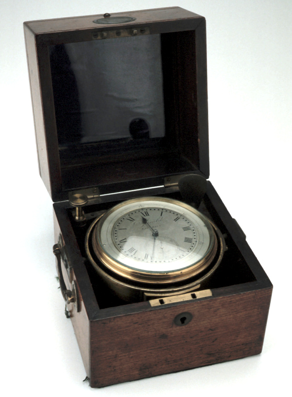 Two-Day Marine Chronometer, c. 1840 (Inv. 38217) 'Chronometer' is the title given to clocks accurate enough to be used at sea. This one comes from the Museum's collections, we wonder if it was similar to those Catilin saw at the Greenwich Maritime Museum.