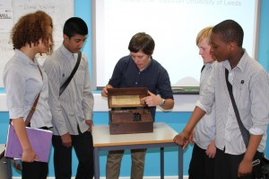Elizabeth Bruton demonstrates the Fullerphone to KS3 history students at Allteron Grange HS, Leeds
