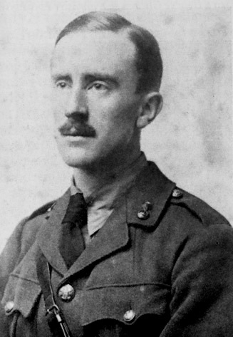 J. R. R. Tolkien (aged 24) in army uniform, photograph taken in 1916.