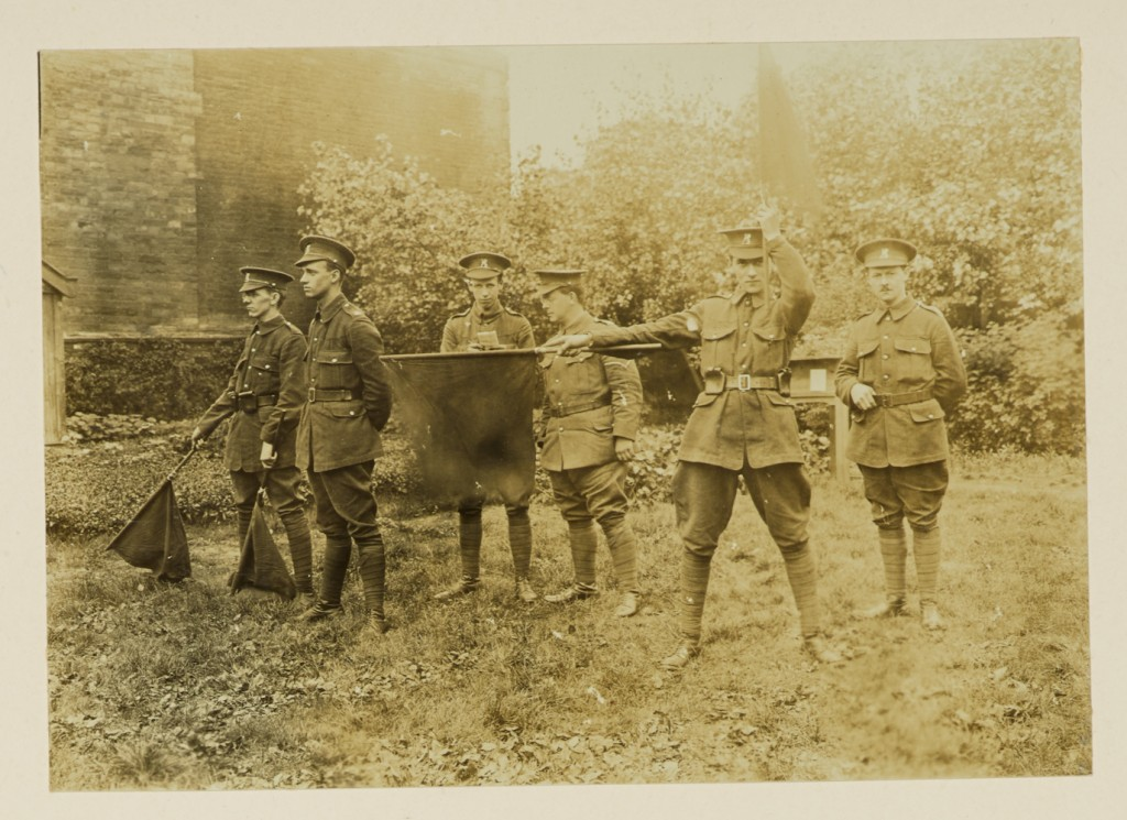 Signalling: a signalling parade, University of Leeds OTC, c.1915