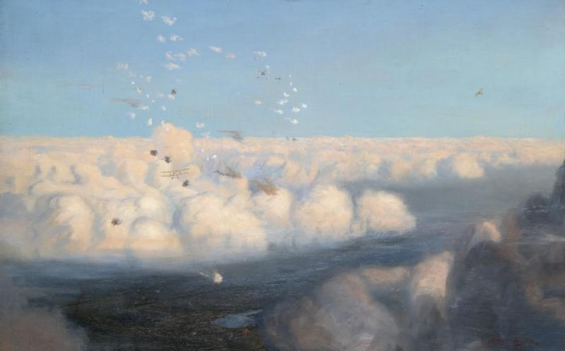 Art.IWM ART 2920 BE2c aircraft of the Royal Flying Corps fly above the clouds amidst the small puffs of artillery fire. A small section of the landscape is visible far below the cloud line (1920).