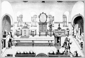 Some sense of the likely appearance of the Ashmolean laboratory can be gleaned from this engraving of the laboratory at Altdorf University, founded at exactly the same time. From Johann Georg Puschner, Amoenitates Altdorfinae, 1720.