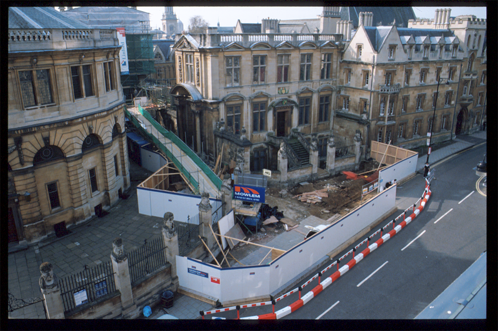The outside of the Museum during extensive renovations in 1999. Boards have been put along Broad Street to cordon off the building, and the pavement immediately in front of the Museum is being dug up to alter the foundations