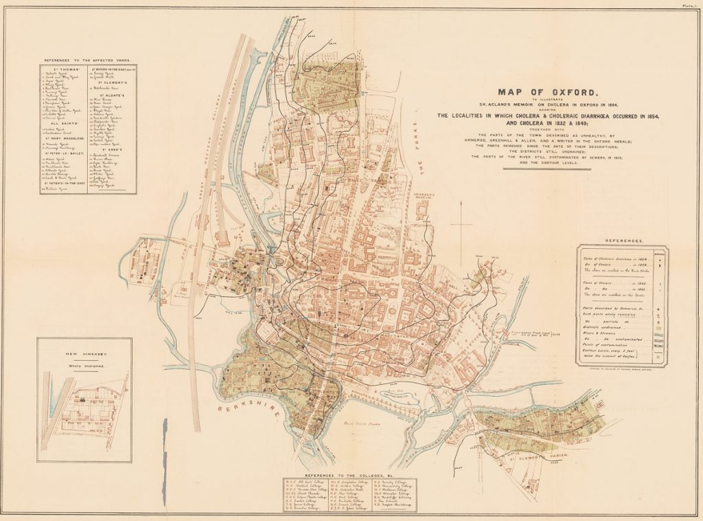Acland's Map of the Cholera in Oxford, 1854 Henry Wentworth Acland, Memoir on the Cholera at Oxford, in the Year 1854 (J. H. & J. Parker, Oxford, etc., 1856, plate 1) https://exhibits.stanford.edu/blrcc/catalog/rt260gd2393