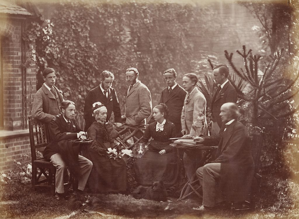 """Unknown photographer, """"Father, Mother and Children"""" (albumen print, c. 1876) The Aclands of Oxford: from left to right, Alfred, Theodore, Sarah, Harry, Willie, Angelina, Frank, Herbert, Reginald, and Henry Acland Bodleian Library, Ms. Photogr. c. 175, f. 152"""