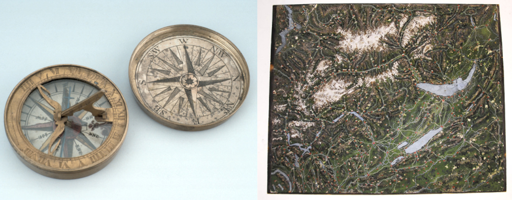 Compass, 18th Century (Inv. 35051) and Map of Switzerland, Early 19th Century, (Inv. 10424)
