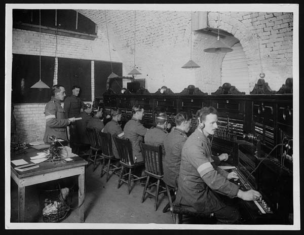 Signallers working at the headquarters of R.E.S.S. in France, during World War I