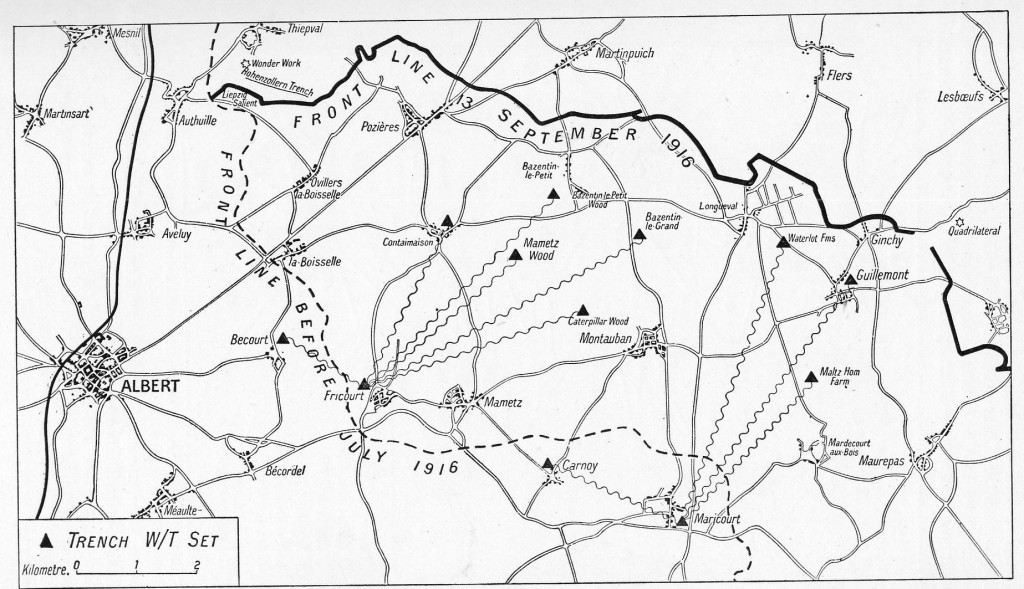 Map showing the deployment of the wireless sets near the front line in September 1916