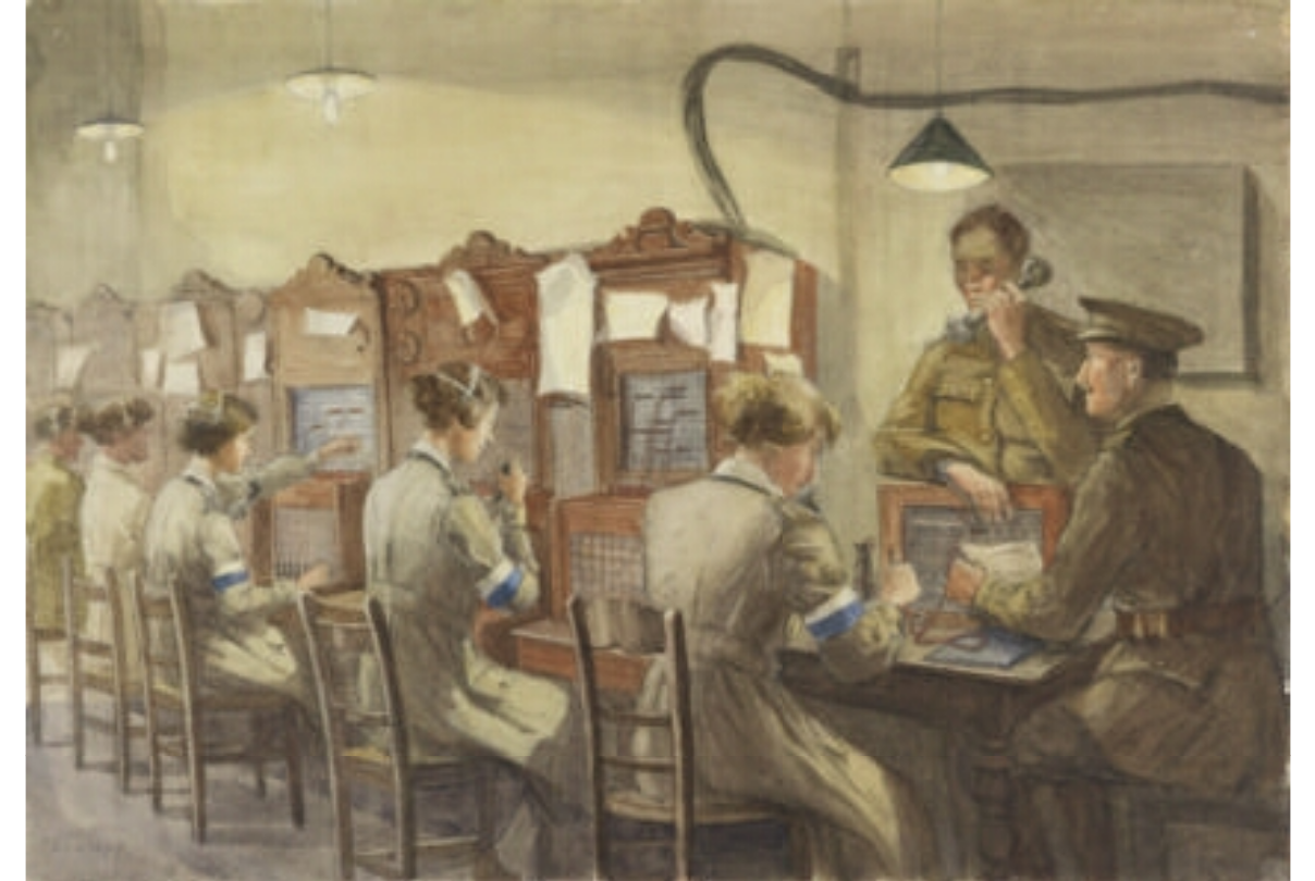 Queen Mary's Army Auxiliary Corps Signallers, Base Hill, Rouen : Telephones. Forewoman Milnes and Captain Pope.