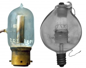 (left) Commercial version of Fleming diode; (right) BT-H version of the de Forest Audion triode