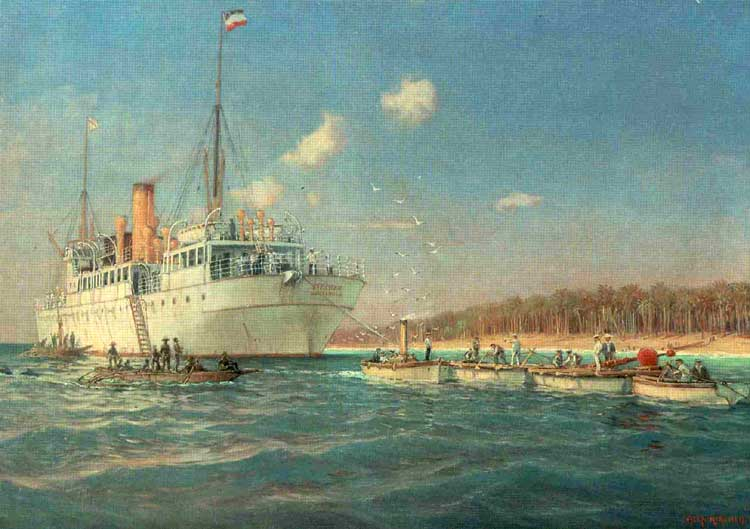 CS Stephan off the New Guinea coast, laying the Dutch East Indies - Yap - Guam cable, c.1906