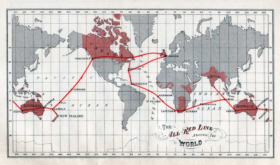 1902 British All Red Line map, from Johnson's The All Red Line - The Annals and Aims of the Pacific Cable Project