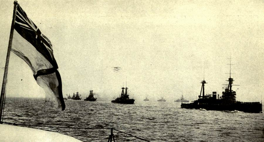 The British Grand Fleet sailing in parallel columns in World War I