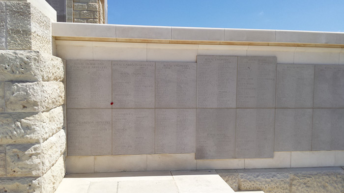 Helles memorial, panels 23 to 25. Harry's name on panel 24 is marked by a poppy.