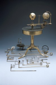 A table orrery held in the Museum surrounded by its component parts.