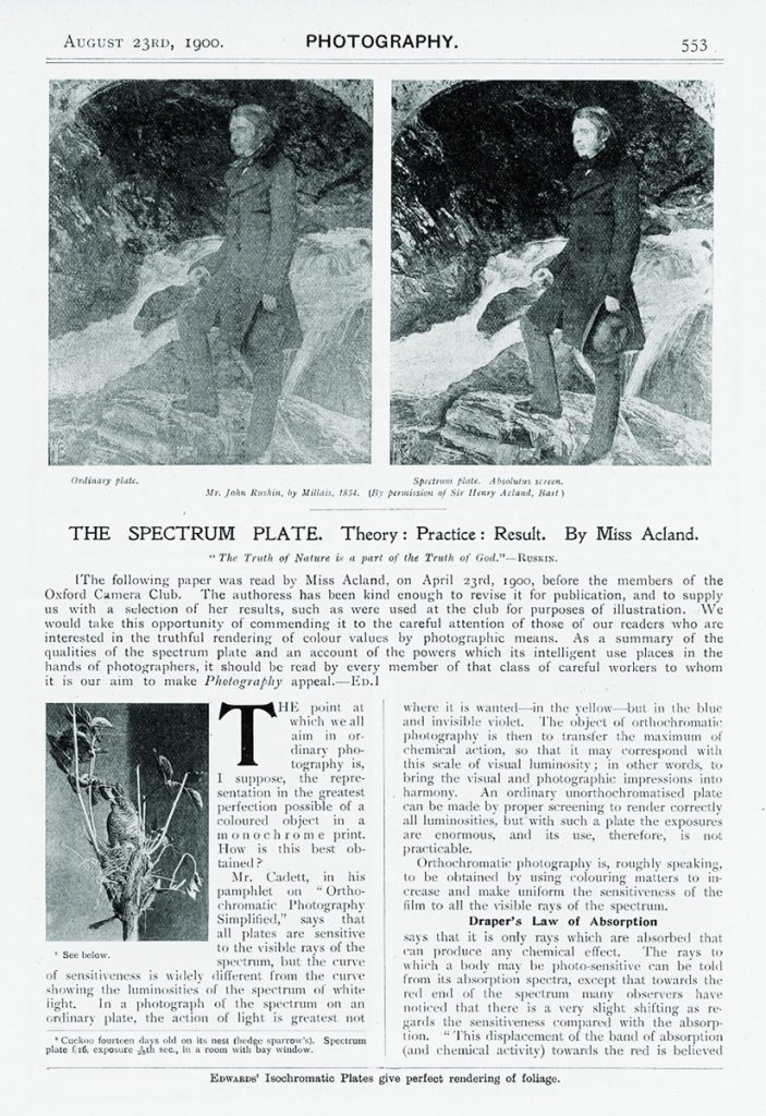 "Miss Acland, ""The Spectrum Plate. Theory: Practice: Result"", Photography, no. 615, vol. 12 (23 Aug 1900), pp. 553 – 560, p. 553"