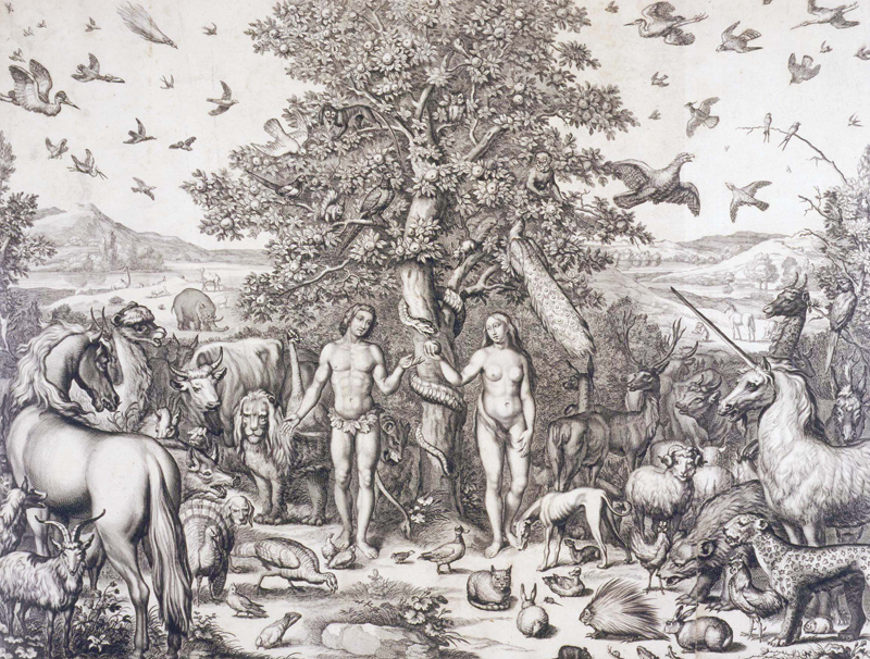 Engraved plate from Ogilby's 1660 Bible illustrating the state of paradise at the moment of the Fall. The plate was engraved by Pierre Lombart (1620?–1681). From catalogue no.1.